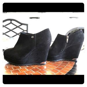 Black Suede Bootie Wedges Size 9